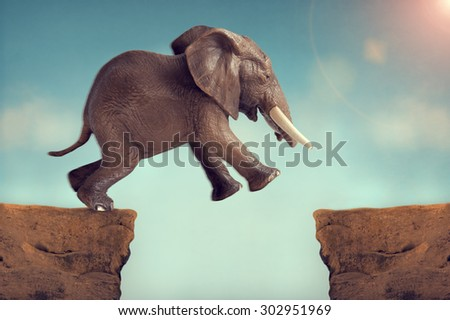 leap of faith concept elephant jumping across a crevasse - stock photo