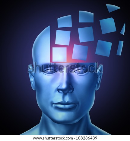 Learn and lead education and leadership concept with a human head being segmented into cubic shapes and spreading outward as a symbol of business training success on a glowing black background. - stock photo