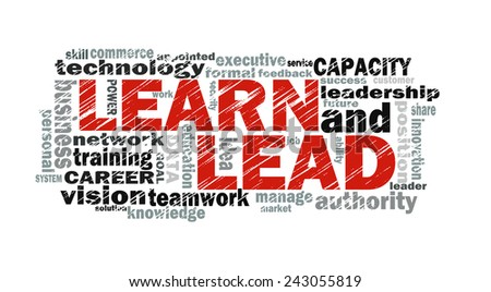 learn and lead word cloud with related tags - stock photo