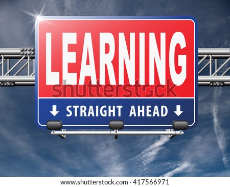 learn and study and find info or information road sign. Online education studying and learning. 