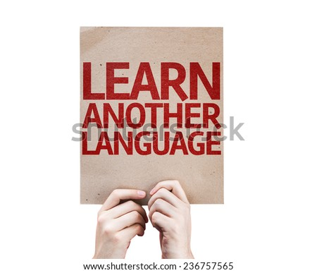 Learn Another Language card isolated on white background - stock photo