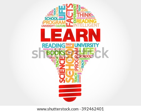 LEARN bulb word cloud, business concept - stock photo