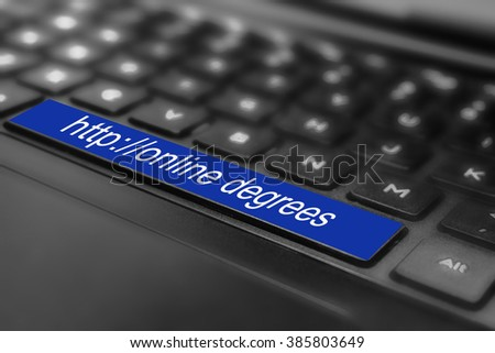 "Learn code language ""online degrees"" in keyboard space button. - stock photo"