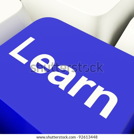 Learn Computer Key In Blue Showing Internet Learning And Education