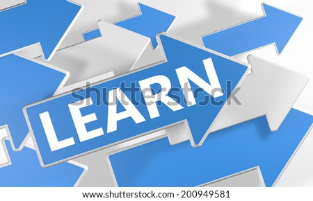 Learn 3d render concept with blue and white arrows flying over a white background. - stock photo