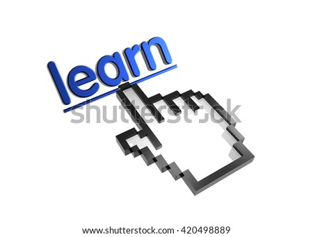 learn. 3d rendered inscription. Link and finger, pointer. Isolated on white - stock photo