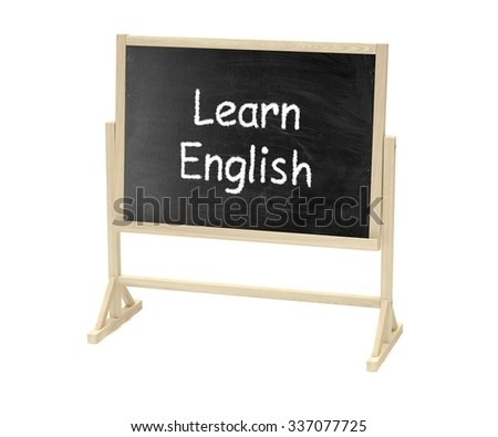 Learn English concept. Blackboard, chalkboard isolated on white