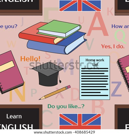 Learn english concept pattern. Books, training, education.  - stock photo