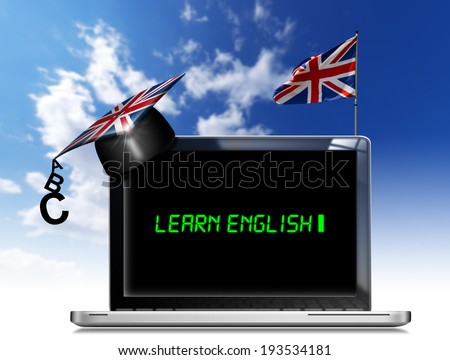 """Learn English - Laptop Computer / Modern laptop with black screen, graduation hat and phrase """"learn english"""" on display and british flag on a blue sky - stock photo"""