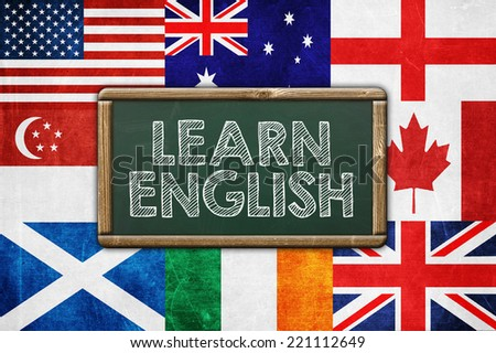 Learn English - vintage background concept - stock photo