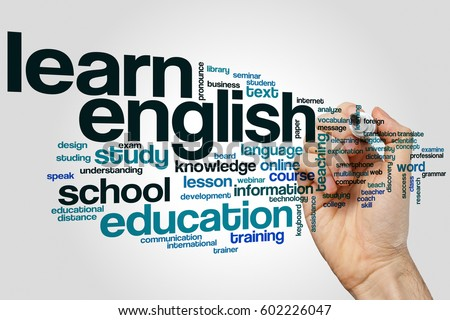 Learn english word cloud concept on grey background