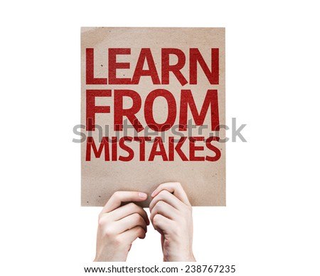Learn From Mistakes card isolated on white background - stock photo