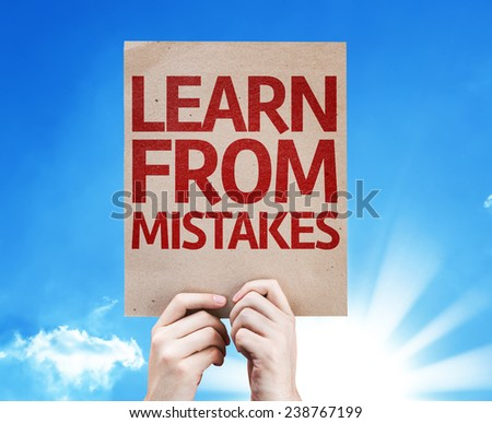 Learn From Mistakes card with beautiful day - stock photo