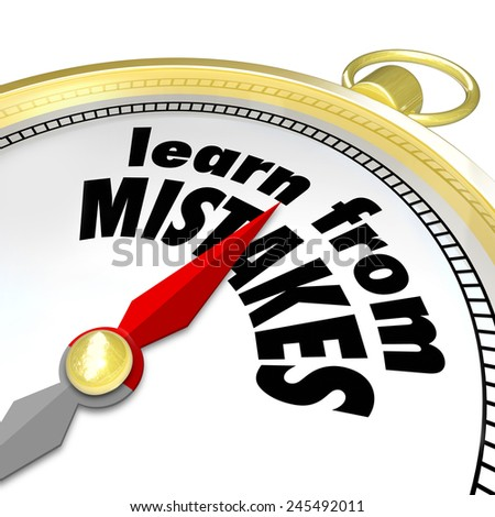 Learn From Mistakes words on a gold compass to illustrate trying again after a failure to achieve success through trial and experimentation - stock photo