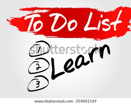 Learn in To Do List concept background - stock photo