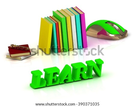LEARN  inscription bright volume letter and textbooks and computer mouse on white background - stock photo