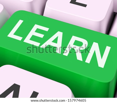 Learn Key Showing Online Learning Or Studying - stock photo