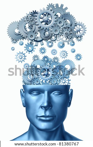 Learn & Lead symbol isolated on white represented by a human head with gears and cogs raining down from a symbolic server representing cloud computing. - stock photo