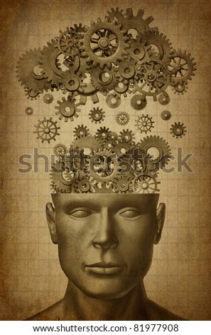 Learn & Lead symbol with grunge texture isolated on white represented by a human head with gears and cogs raining down from a symbolic server representing cloud computing. - stock photo