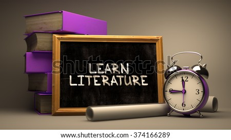 Learn Literature Concept Hand Drawn on Chalkboard. Blurred Background. Toned Image. 3d Render. - stock photo
