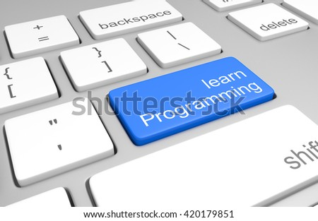 Learn programming key on a computer keyboard for learning to code and write software, 3D rendering