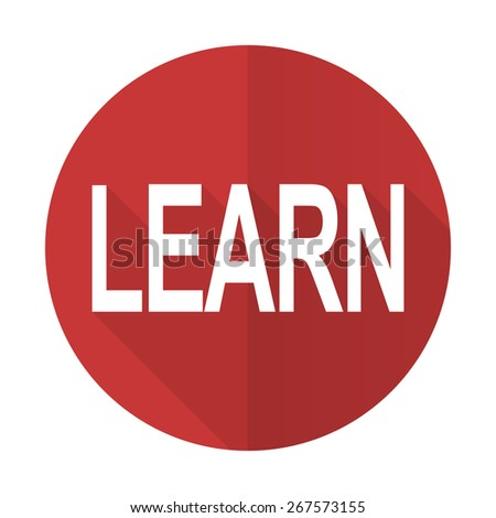 learn red flat icon   - stock photo