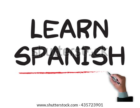 Learn Spanish businessman work on white broad, top view