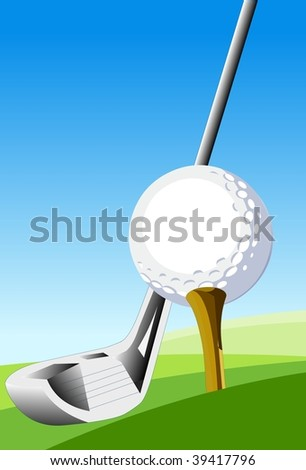 Learn the Basics of Golf An illustration of a golf ball sitting on a tee and a golf club - stock photo