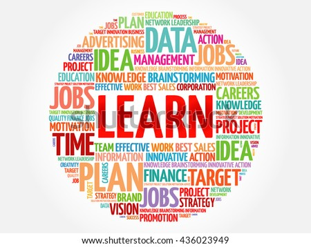 LEARN word cloud, business concept - stock photo