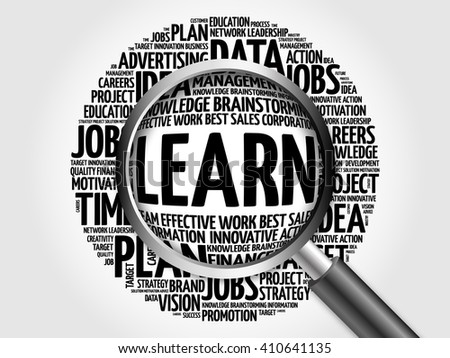 LEARN word cloud with magnifying glass, business concept - stock photo