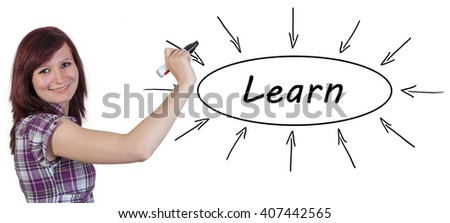 Learn - young businesswoman drawing information concept on whiteboard.  - stock photo