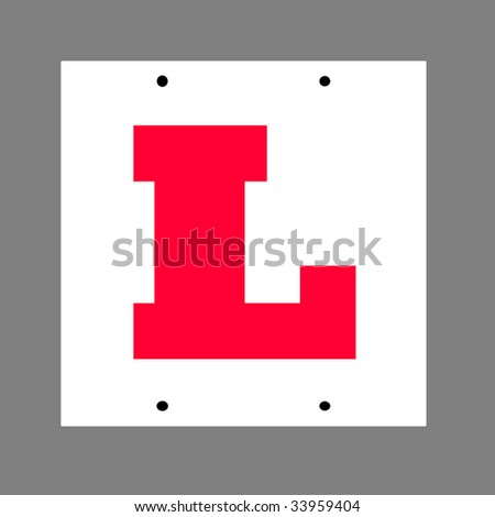 """Learner driver, """"L"""" license plate, isolated on plain background. - stock photo"""