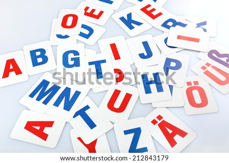 Learning alphabet letters close-up - stock photo