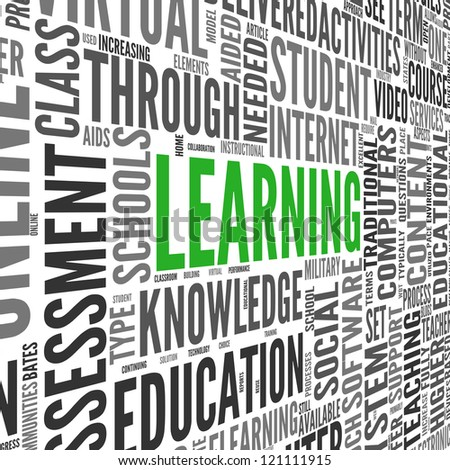 Learning and education concept in 3d word tag cloud on white - stock photo