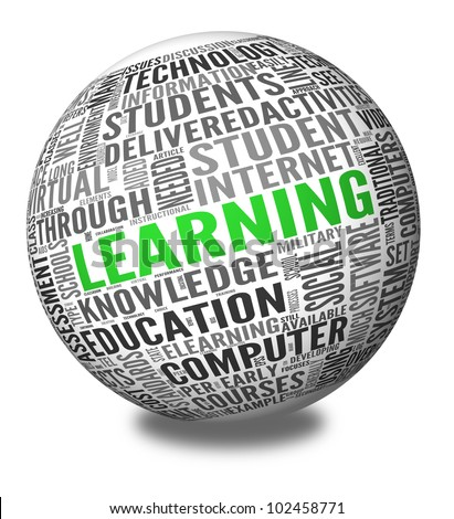 Learning and education concept in word tag cloud on sphere - stock photo