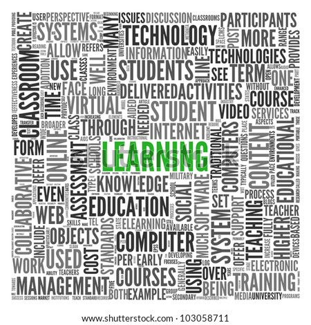 Learning and education concept in word tag cloud on white - stock photo