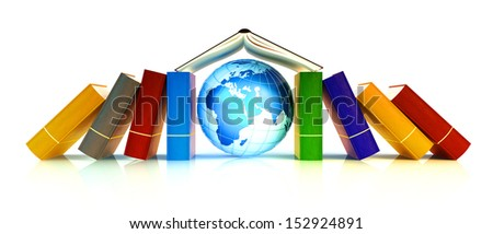 Learning and international school concept. House from the books. Elements of this image furnished by NASA.  - stock photo