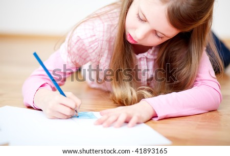 Learning child doing homework for school - stock photo