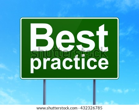 Learning concept: Best Practice on green road highway sign, clear blue sky background, 3D rendering - stock photo