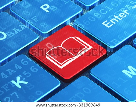 Learning concept: computer keyboard with Book icon on enter button background, 3d render - stock photo