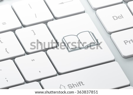 Learning concept: Enter button with Book on computer keyboard background, 3d render