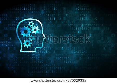 Learning concept: Head With Gears on digital background