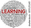 Learning concept in tag cloud on white background - stock