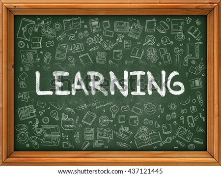 Learning Concept. Line Style Illustration. Learning Handwritten on Green Chalkboard with Doodle Icons Around. Doodle Design Style of Learning. - stock photo
