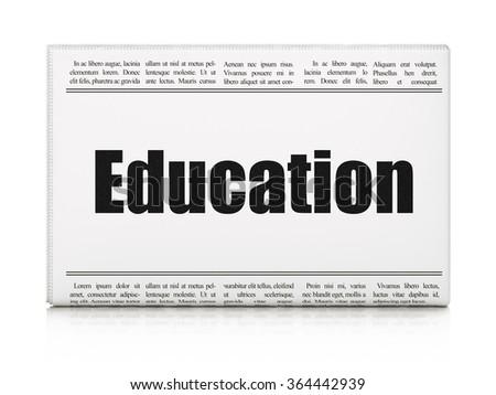 Learning concept: newspaper headline Education - stock photo