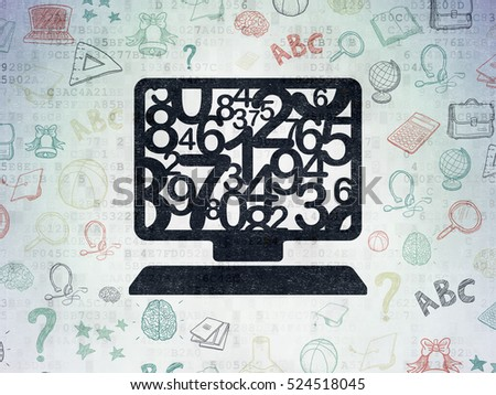 Learning concept: Painted black Computer Pc icon on Digital Data Paper background with  Hand Drawn Education Icons
