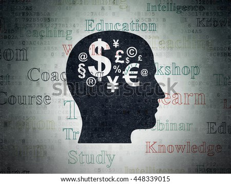 Learning concept: Painted black Head With Finance Symbol icon on Digital Data Paper background with  Tag Cloud