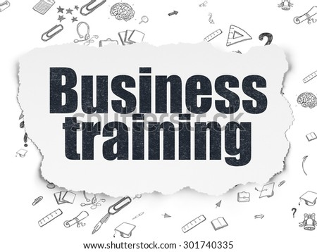 Learning concept: Painted black text Business Training on Torn Paper background with Scheme Of Hand Drawn Education Icons, 3d render - stock photo