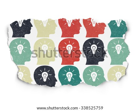 Learning concept: Painted multicolor Head With Light Bulb icons on Torn Paper background - stock photo