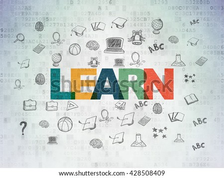 Learning concept: Painted multicolor text Learn on Digital Data Paper background with  Hand Drawn Education Icons - stock photo